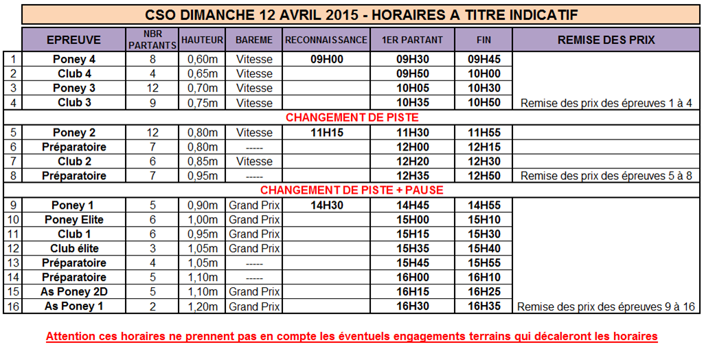 Horaires cso dimanche 12 avril 2015 galop tricastin