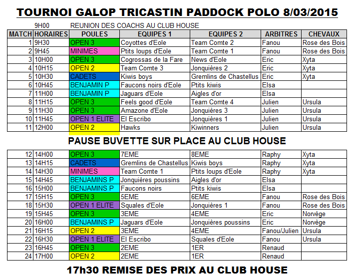 Horaires match de polo