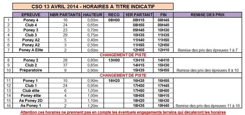 Horaires cso 13 avril 2014
